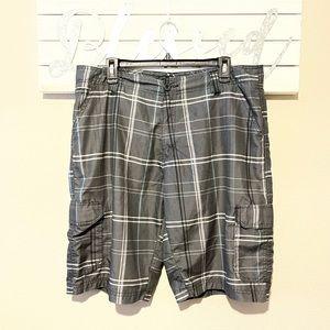 Burnside - gray / blue plaid shorts